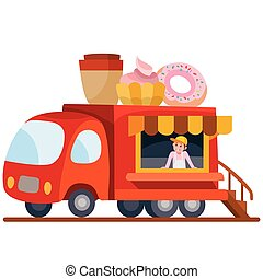 illustration., truck., karikatúra, vektor, élelmiszer, autó, olasz, táplálék., mozgatható, style.