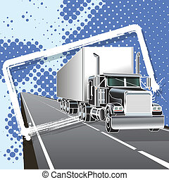 truck - illustration truck with long trailer on road