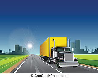 truck - illustration, truck with long trailer on road