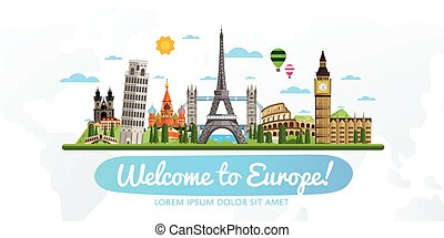 illustration., turism, vektor, resa