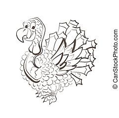 illustration, turquie, croquis, thanksgiving, rigolote