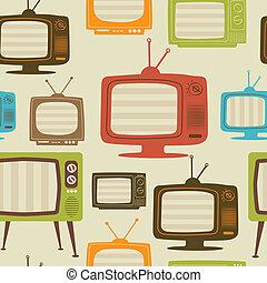 illustration., tv, pattern., seamless, vetorial, retro