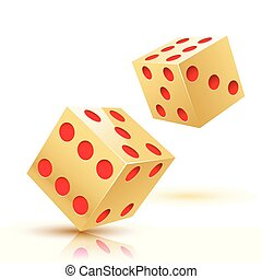 Illustration two Gold Dices. Gambling icon. - Illustration...