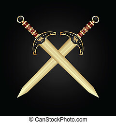 Illustration two medieval swords isolated - vector