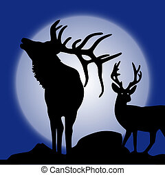 Illustration, two silhouette of deer (northern) in winter at moonlight