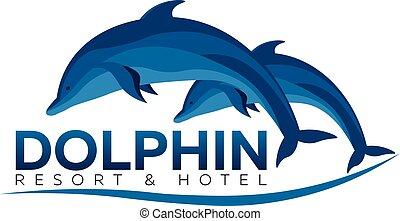 illustration., uciekanie się, wektor, hotel., dolphinarium., delfin, logo., płaski