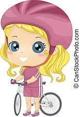 illustration, unge, cyklist, flicka, cykel