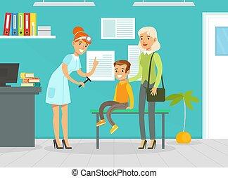 illustration, unge, läkare, examen, undersöka, förälder, vektor, pojke, kontor, service, kvinna, neurologen, begrepp, medicinsk