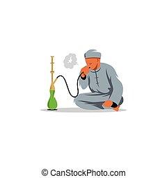 illustration., uomini, arabo, vettore, fumo, shisha.