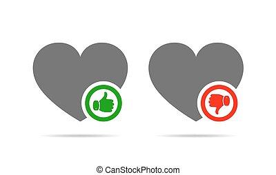illustration., uppe, vektor, ner., hjärtan, tumme