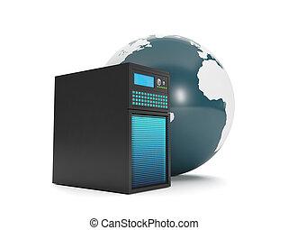 illustration:, urządzenie obsługujące, dane, 3d, storage.
