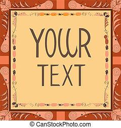 illustration., utrymme, affisch, text, vektor, din