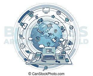 illustration, värld, omkring, affärsverksamhet svåra, poster., -, befordrings-