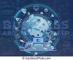 illustration, värld, omkring, tema, affär, poster., befordrings-