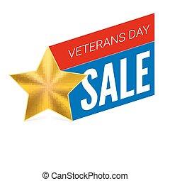 illustration., vétérans, vente, template., vecteur, bannière, jour