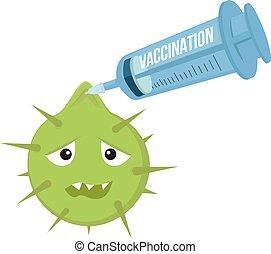 illustration., vacunación, infección, pelea, jeringuilla,...