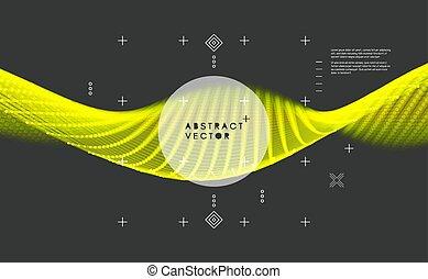 illustration., vague, vecteur, incandescent, structure., wireframe, dots., lignes, connecté, grid., connexion