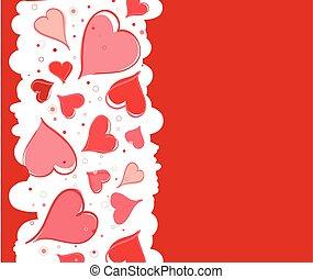 Illustration, valentin, jour,  s, vecteur, fond, cœurs, rouges