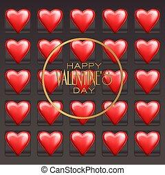 illustration., valentine, cioccolato, day., dolci, vettore, cuori