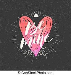 illustration., valentine, mão, vetorial, desenhado, dia