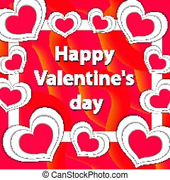 illustration., valentine, scheda, augurio, giorno, vettore, sagoma, felice, tuo, design.