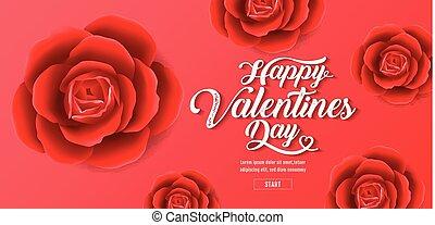 illustration., valentine, vendita, rose, fondo, , cuori, bandiera, giorno, rosso
