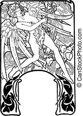 illustration., valentines, 沉思, 矢量, cupid, 天