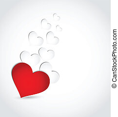 Valentine's day invitation with paper hearts