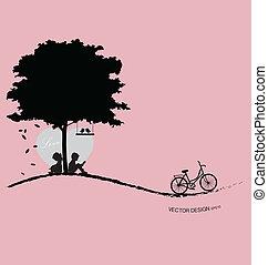 illustration., valentine's, valentine, day., træ, vektor, baggrund, fugl, sunset.