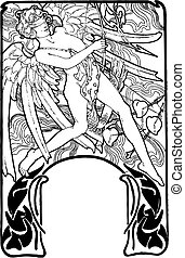 illustration., valentinkort, musa, vektor, cupid, dag