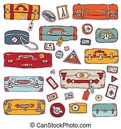 illustration., valises, vendange, set., vecteur, voyage