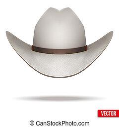 illustration., vaquero, aislado, fondo., vector, hat., blanco