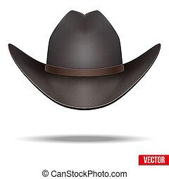illustration., vaquero, aislado, fondo., vector, negro, hat., blanco