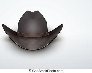 illustration., vaquero, luz, vector, fondo negro, hat.