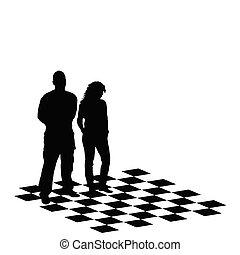 illustration, vecteur, échecs, table, girl, homme