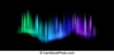 illustration, vecteur, boréal, luminescence, ciel, lights., ...