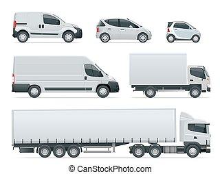 illustration., vecteur, cargaison, van., isolated., côté, camions, camion, ensemble, livraison, véhicules, vue.
