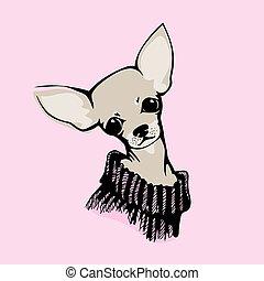 illustration, -, vecteur, chihuahua, chien