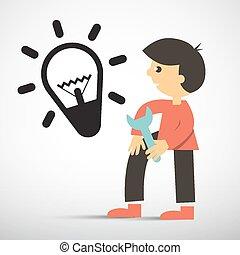 illustration, vecteur, clé, ampoule, homme, icône