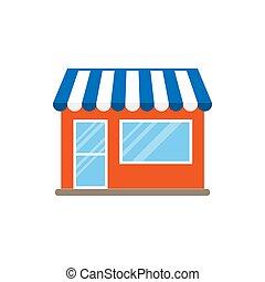 illustration., vecteur, commerce, icon., magasin, bâtiment, magasin