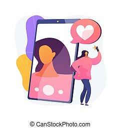 illustration., vecteur, concept, selfie, résumé
