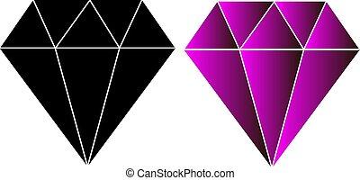 illustration, vecteur, conception, diamants, logo, icône