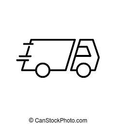 illustration, vecteur, conception, livraison, symbole, icon., camion