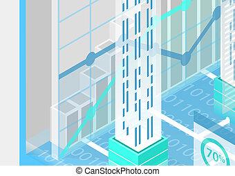 illustration., vecteur, conceptuel, vue, quantum, calculer, informatique, isométrique, 3d
