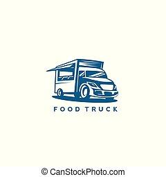 illustration., vecteur, couleur nourriture, camion, bleu