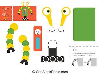 illustration., vecteur, couper papier, robot, découpage, colle, jouet, ciseaux, modèle, caractère