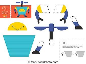 illustration., vecteur, couper papier, robot, découpage, mignon, colle, jouet, ciseaux, modèle, caractère