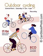 illustration., vecteur, courses, sain, plat, extérieur, isolé, route, gens, vélo, dessin animé, concept, cyclisme, arrière-plan., blanc, activité, style de vie, cycliste, sports., concurrence, affiche