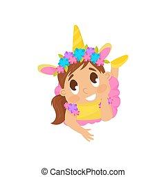 illustration, vecteur, déguisement, fond, licorne, girl, agréable, blanc