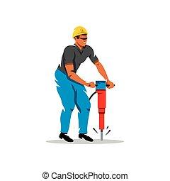 illustration., vecteur, dessin animé, marteau-piqueur, homme